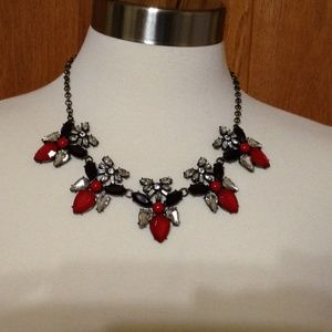 Jewelry - Red & Crystal Stone Statement Necklace